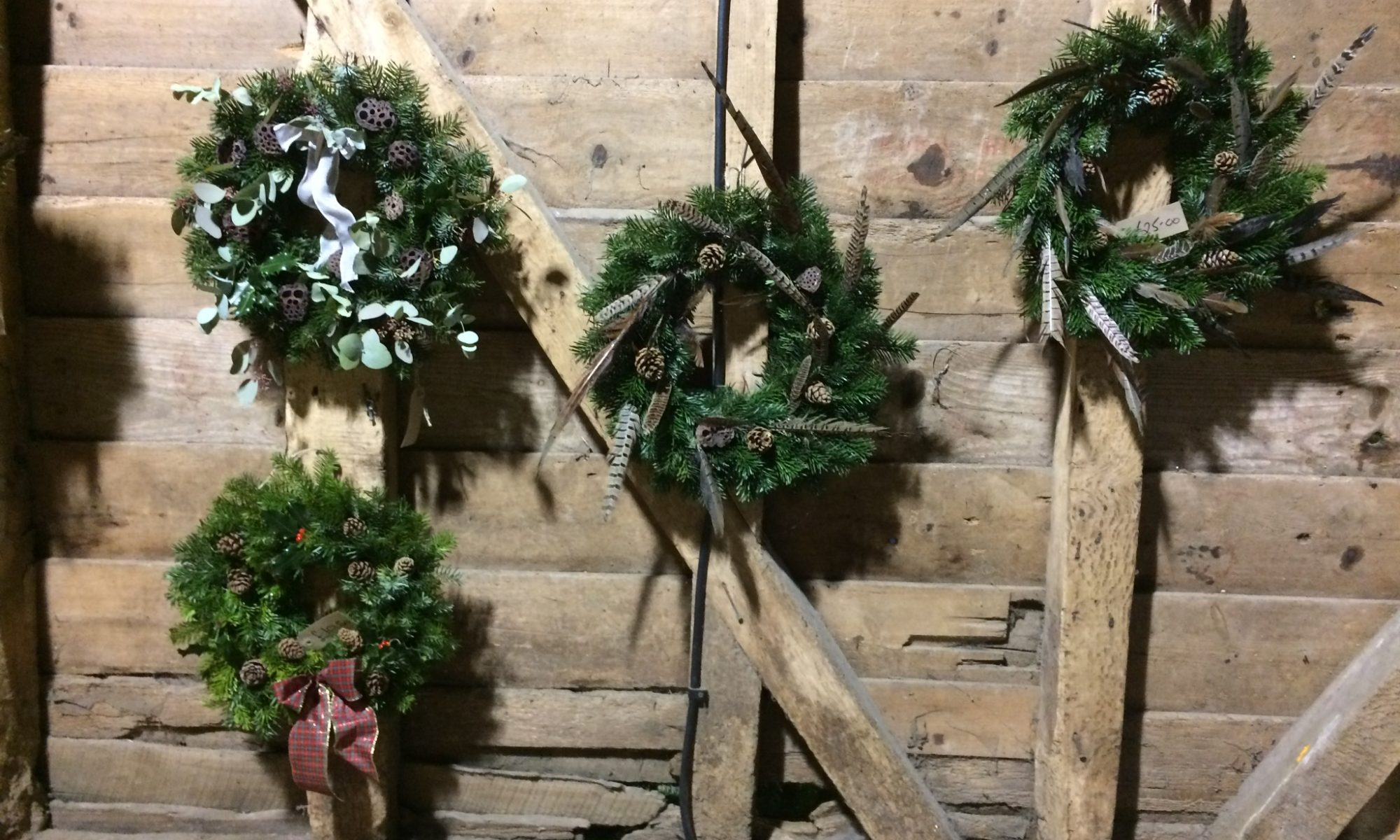 Handmade wreaths - made on the farm